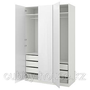 ПАКС Гардероб, белый, Фардаль глянцевый/белый, 150x60x236 см, фото 2