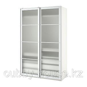 ПАКС Гардероб, белый, Нюкирха закаленное стекло,орнамент «клетка», 150x66x236 см, фото 2