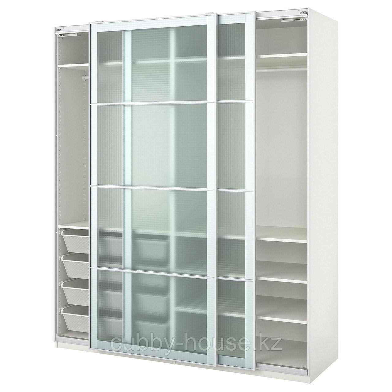 ПАКС Гардероб, белый, Нюкирха закаленное стекло,орнамент «клетка», 200x66x236 см
