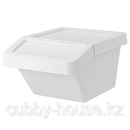 СОРТЕРА Бак мусорный, белый, 37 л, фото 2