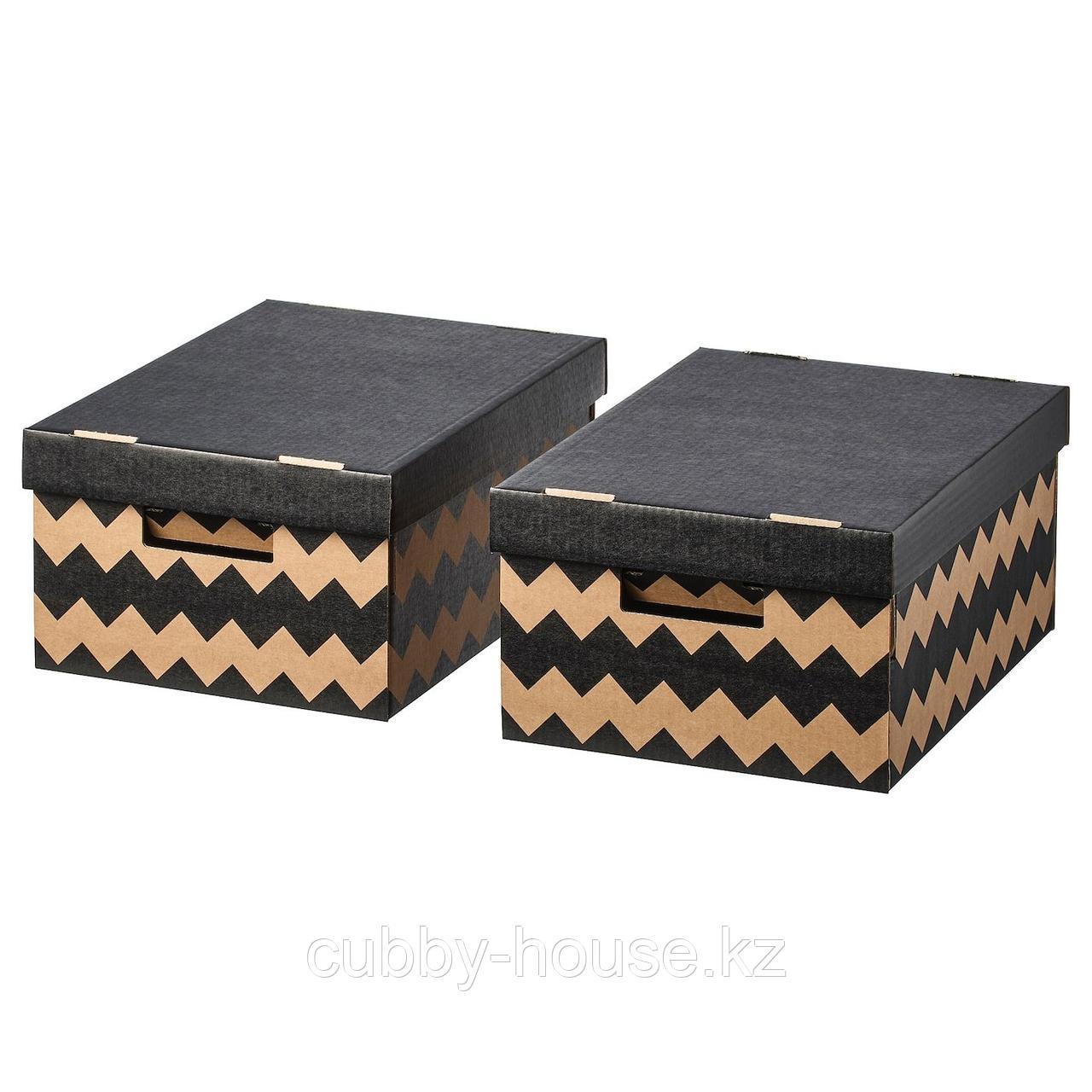 ПИНГЛА Коробка с крышкой, черный, естественный, 28x37x18 см