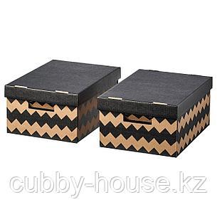ПИНГЛА Коробка с крышкой, черный, естественный, 28x37x18 см, фото 2