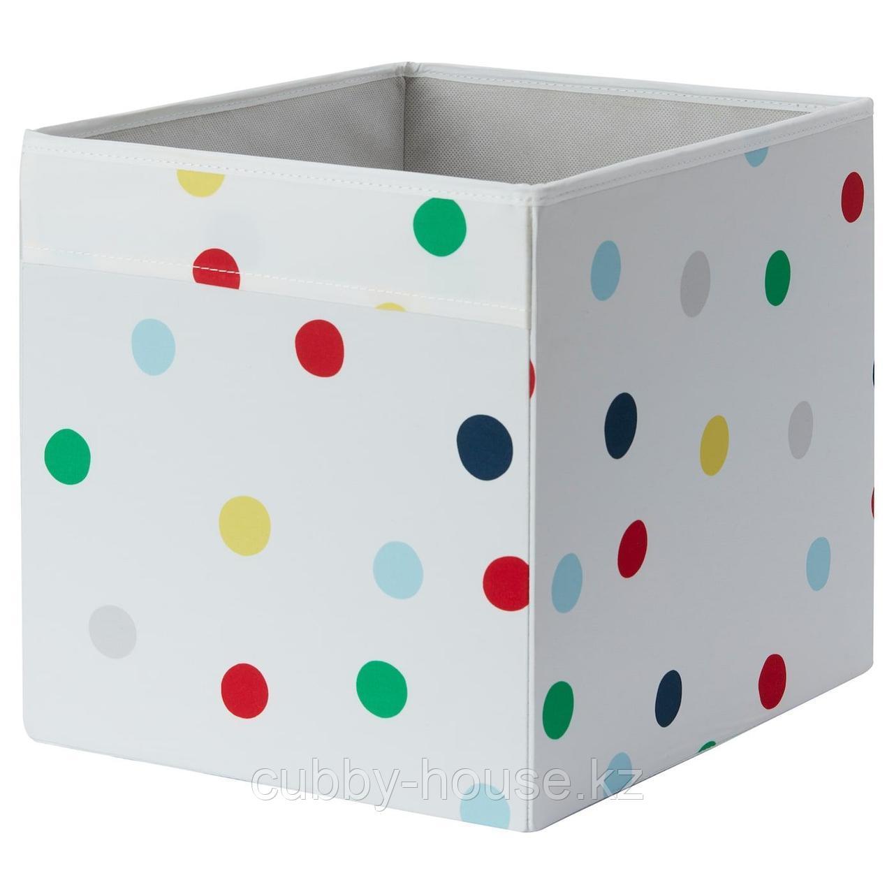 ДРЁНА Коробка, точечный, 33x38x33 см