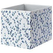 ДРЁНА Коробка, белый, синий с цветочным орнаментом, 33x38x33 см