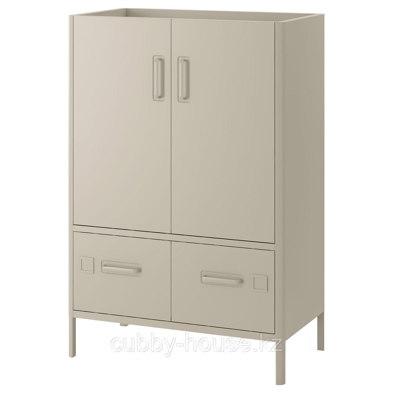 ИДОСЕН Шкаф с дверцами и ящиками, бежевый, 80x47x119 см