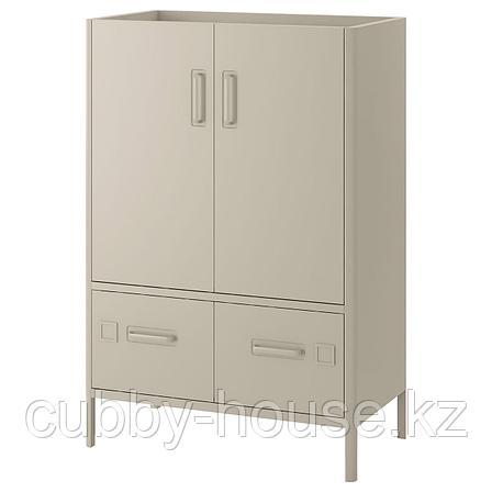 ИДОСЕН Шкаф с дверцами и ящиками, бежевый, 80x47x119 см, фото 2