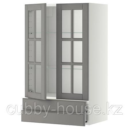 МЕТОД / МАКСИМЕРА Навесной шкаф/2 стек дв/2 ящика, белый, Будбин серый, 60x100 см, фото 2