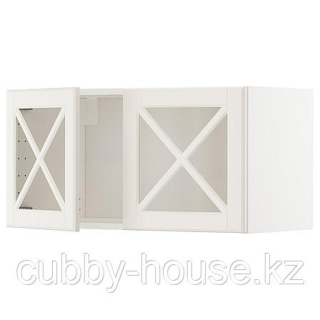 МЕТОД Навесной шкаф с 2 стеклянн дверями, белый, Будбин белый с оттенком, 80x40 см, фото 2