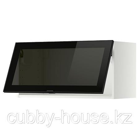 МЕТОД Гориз навесн шкаф со стекл дверью, белый, Ютис дымчатое стекло, 80x40 см, фото 2
