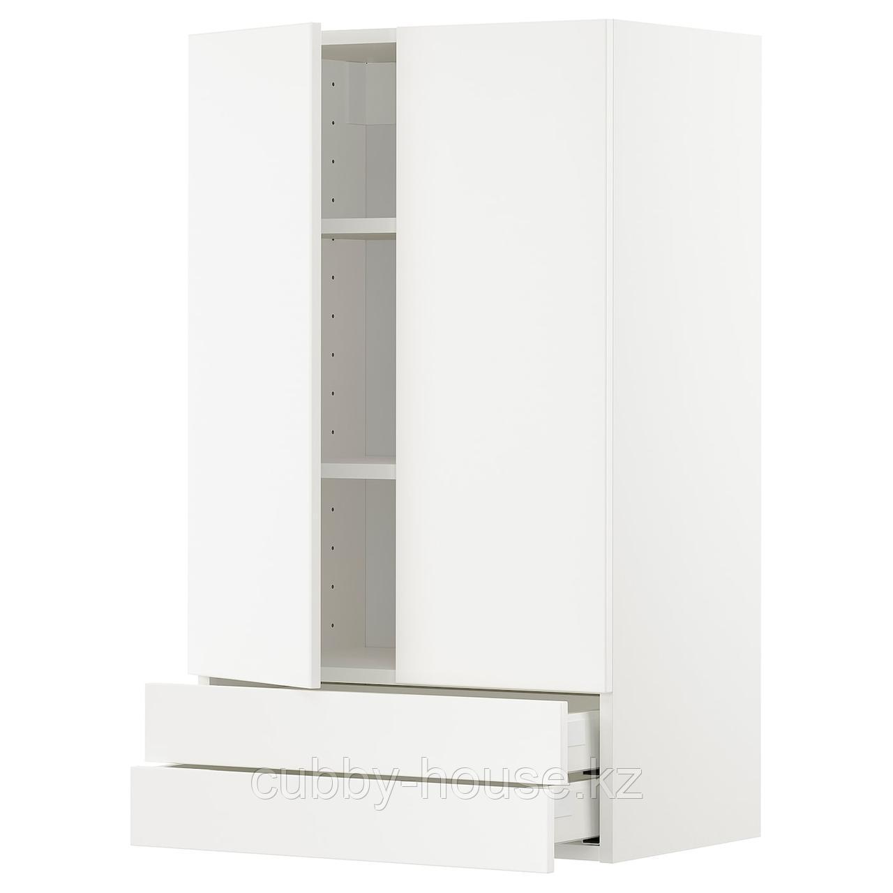 МЕТОД Навесной шкаф/2дверцы/2ящика, белый, Веддинге белый, 60x100 см