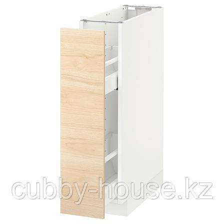 МЕТОД Напол шкаф/выдв внутр элем, белый, Аскерсунд под светлый ясень ясень, 20x60 см, фото 2