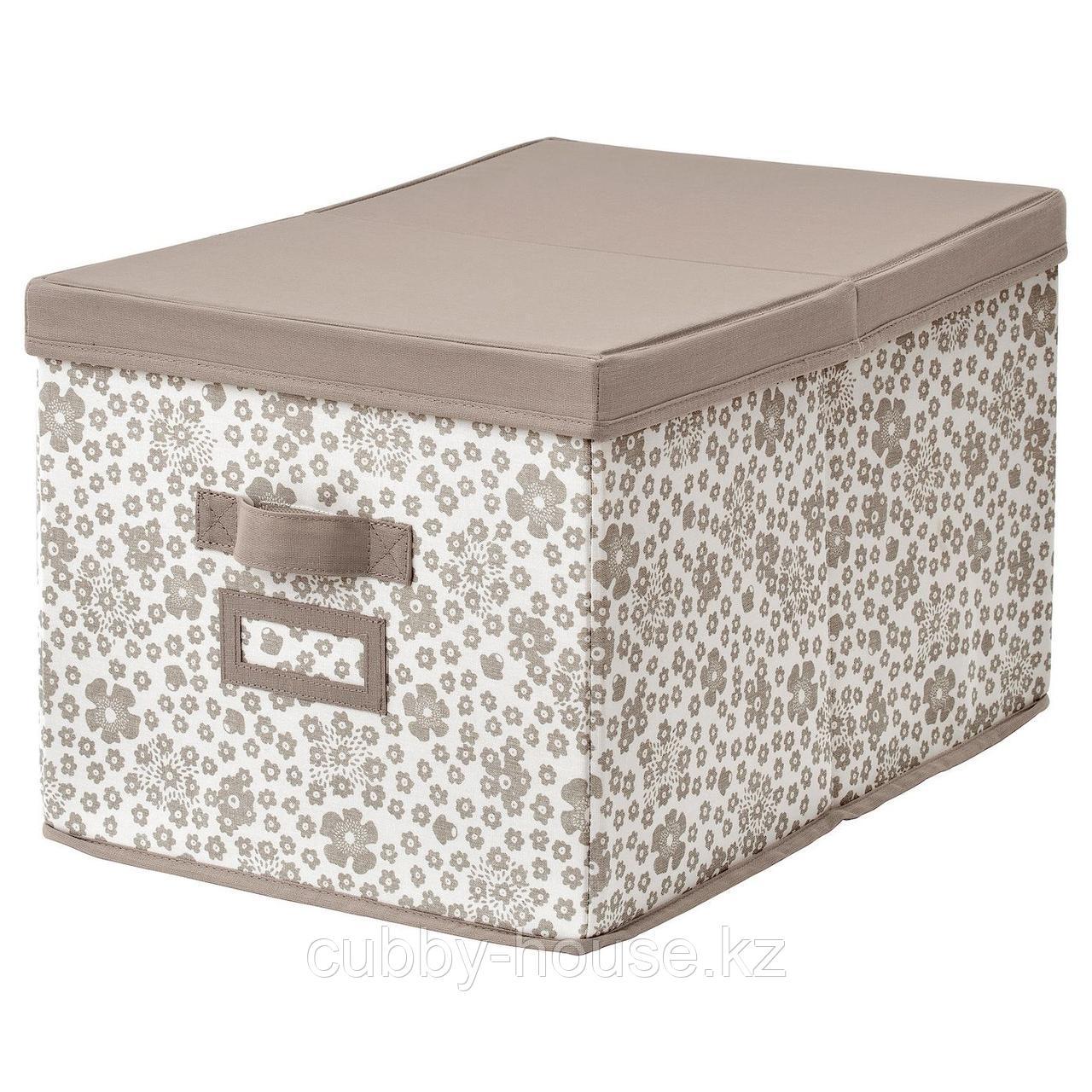 СТОРСТАББЕ Коробка с крышкой, бежевый, 35x50x30 см