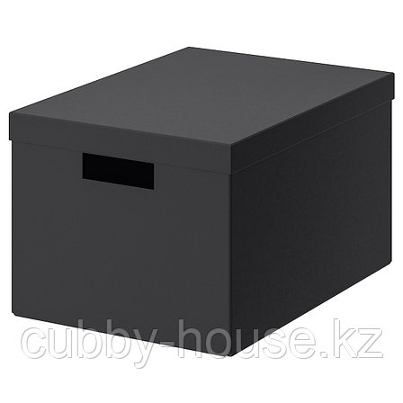 ТЬЕНА Коробка с крышкой, черный, 25x35x20 см, фото 2