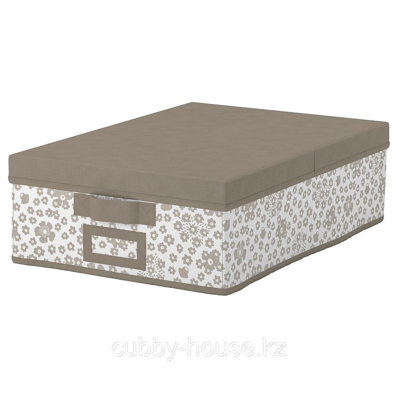 СТОРСТАББЕ Коробка с крышкой, бежевый, 35x50x15 см
