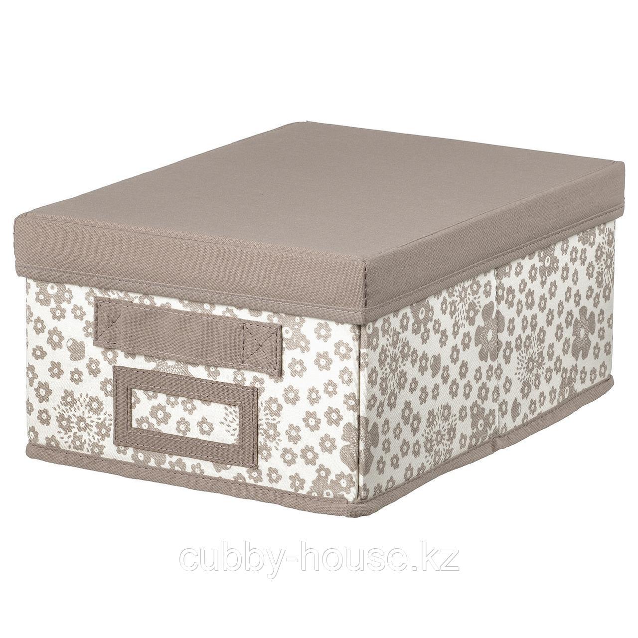 СТОРСТАББЕ Коробка с крышкой, бежевый, 25x35x15 см