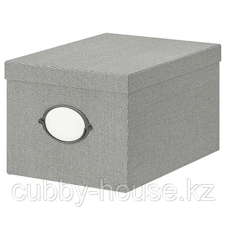 КВАРНВИК Коробка с крышкой, серый, 25x35x20 см, фото 2