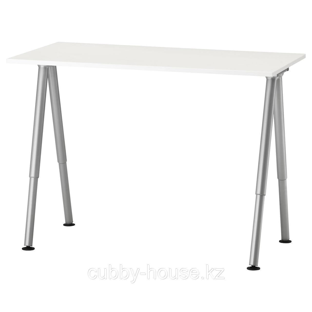 ТИГЕ Письменный стол, белый, серебристый, 120x60 см