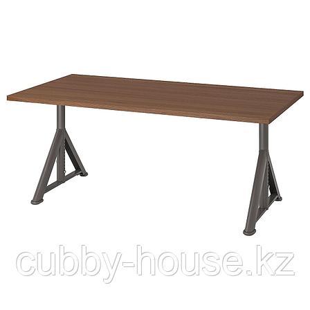 ИДОСЕН Письменный стол, коричневый, темно-серый, 160x80 см, фото 2