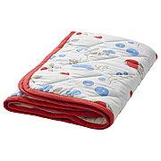 РЁДХАКЕ Одеяло/плед, орнамент «кролики/черника», белый/красный, 96x96 см
