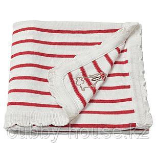 РЁДХАКЕ Одеяло детское, в полоску, белый/красный, 80x100 см, фото 2