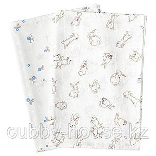 РЁДХАКЕ Муслиновый лоскут, орнамент «кролики/черника», белый, 70x70 см, фото 2