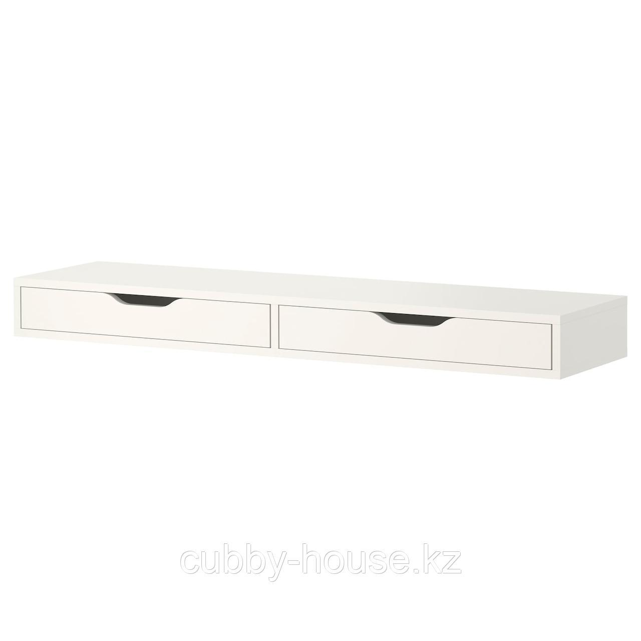 ЭКБИ АЛЕКС Полка с ящиками, белый, 119x29 см