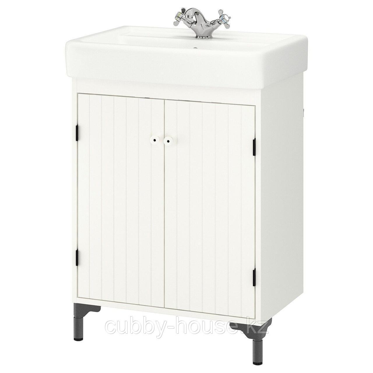 СИЛВЕРОН / ХЭМНВИКЕН Шкаф под раковину с 2 дврц, белый, РУНШЕР смеситель, 63x45x91 см
