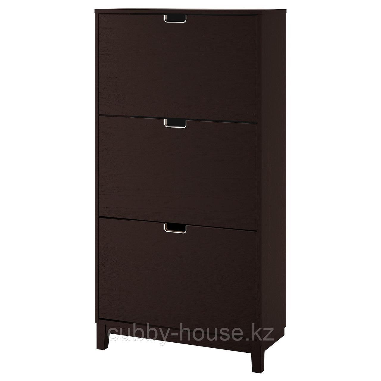 СТЭЛЛ Галошница,3 отделения, черно-коричневый, 79x148 см