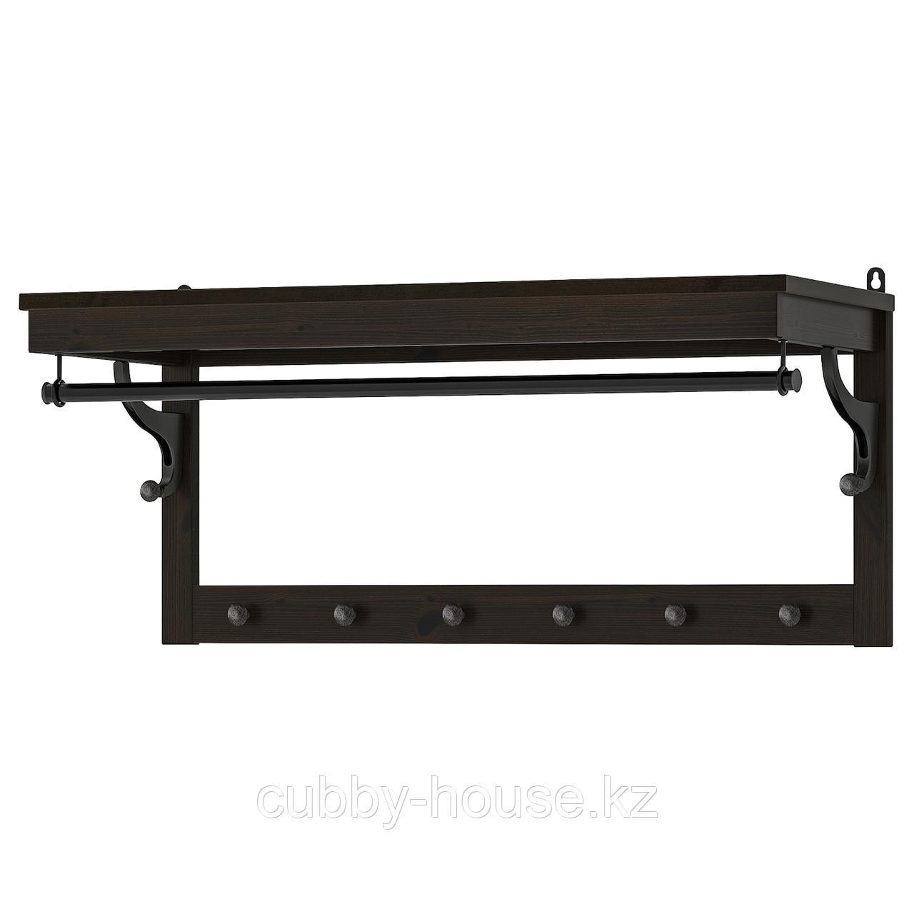 ХЕМНЭС Полка для головных уборов, черно-коричневый, 85 см