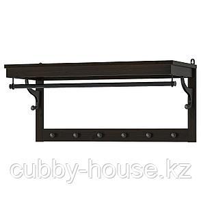 ХЕМНЭС Полка для головных уборов, черно-коричневый, 85 см, фото 2