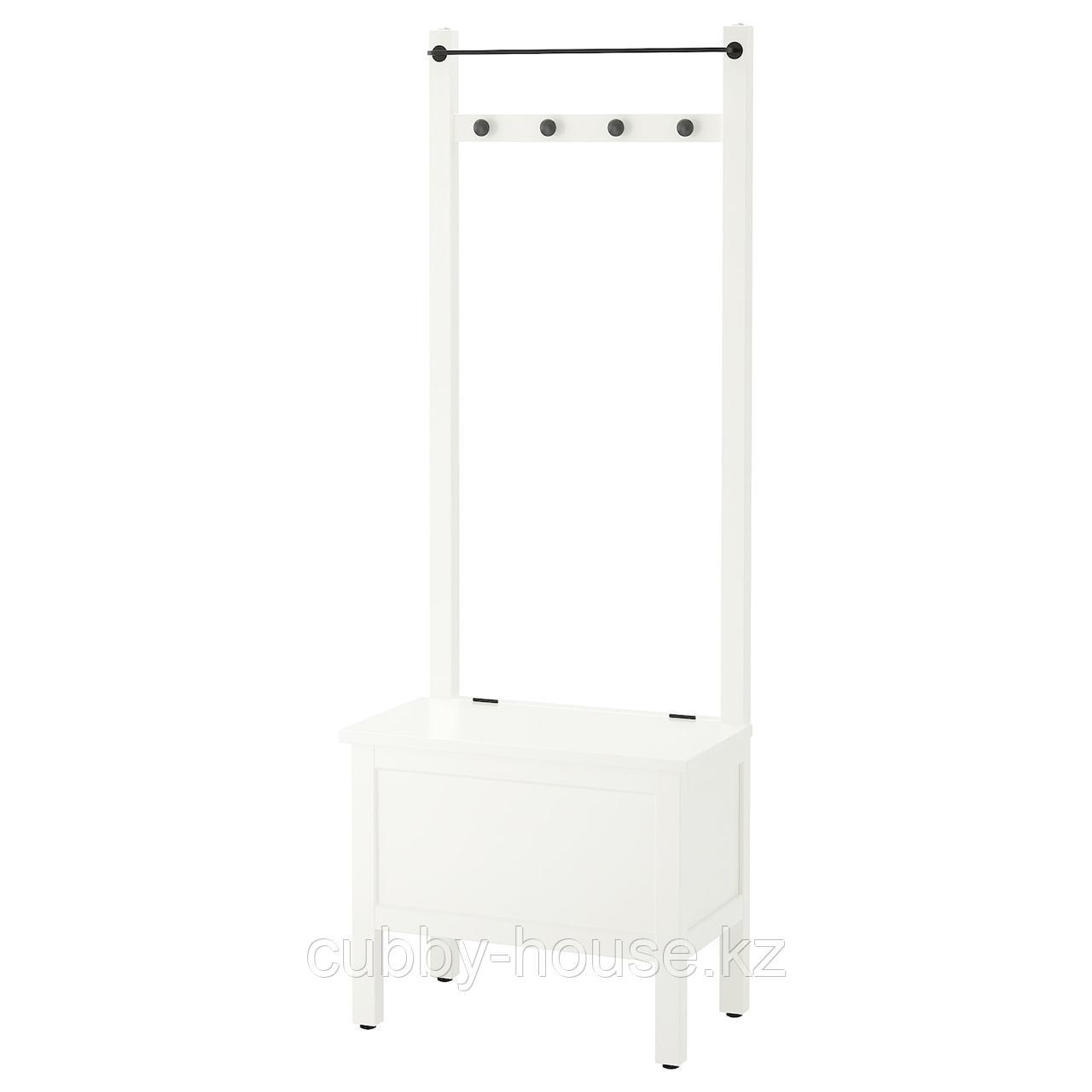ХЕМНЭС Скамья с ящиком/штанга и 4 крючка, белый, 64x37x173 см