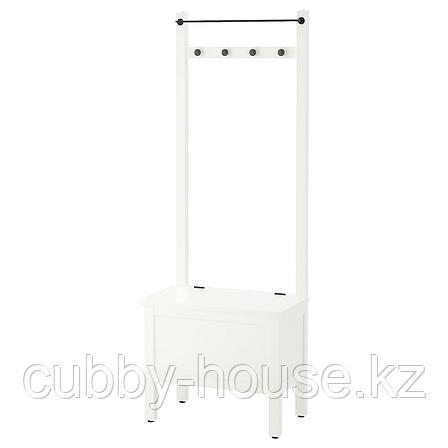 ХЕМНЭС Скамья с ящиком/штанга и 4 крючка, белый, 64x37x173 см, фото 2