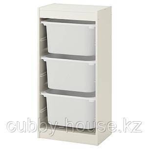 ТРУФАСТ Комбинация д/хранения+контейнеры, белый, белый, 46x30x94 см, фото 2