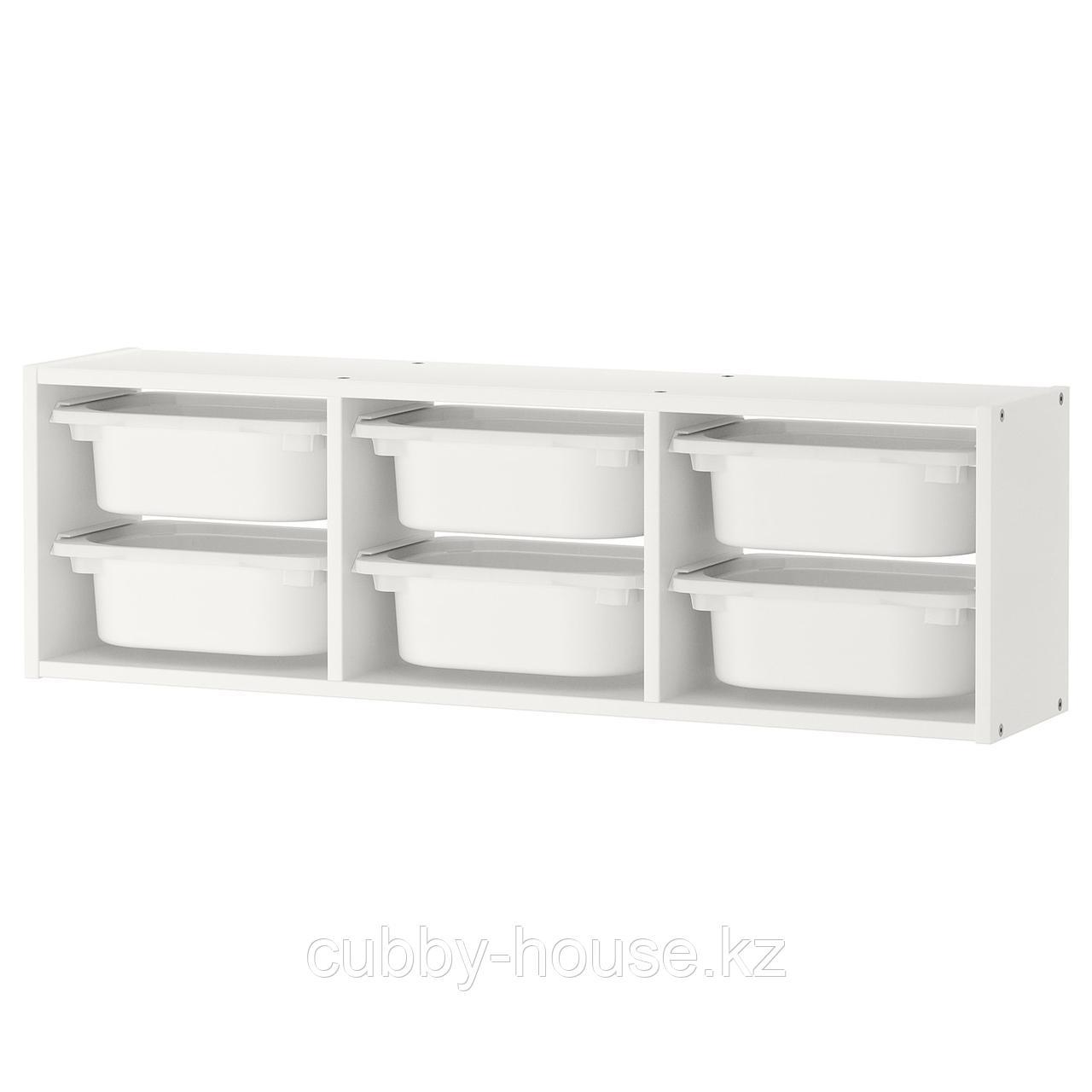 ТРУФАСТ Настенный модуль для хранения, белый, белый, 99x21x30 см