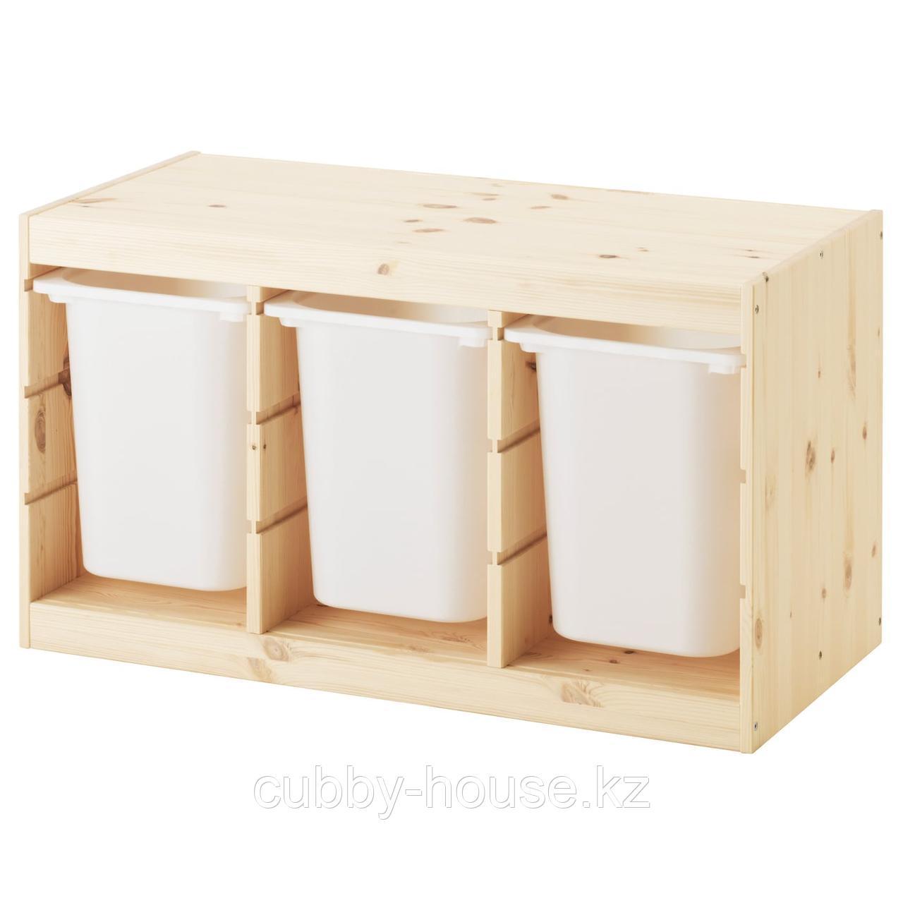 ТРУФАСТ Комбинация д/хранения+контейнеры, светлая беленая сосна, белый, 94x44x52 см