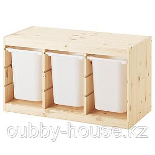 ТРУФАСТ Комбинация д/хранения+контейнеры, светлая беленая сосна, белый, 94x44x52 см, фото 2