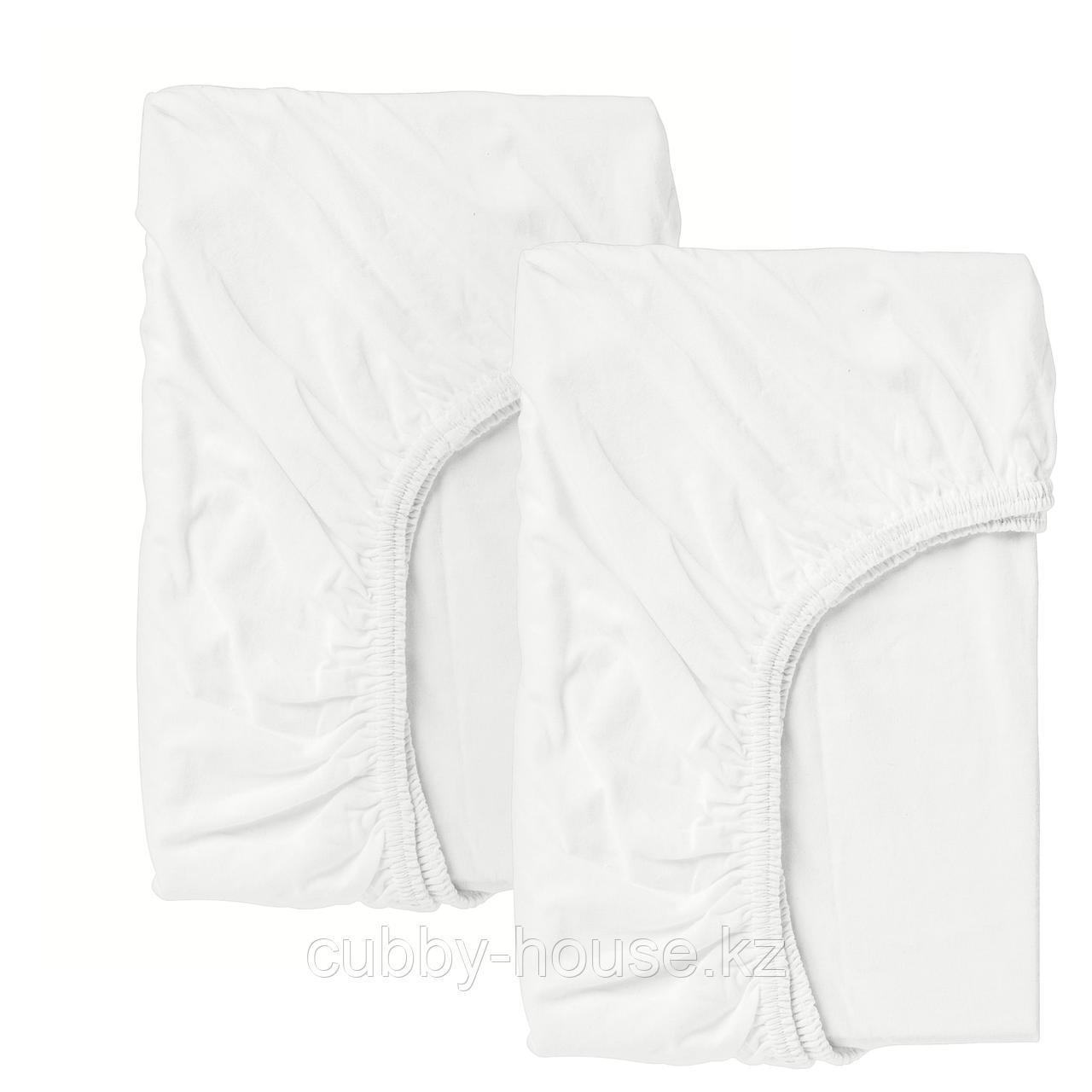 ЛЕН Простыня натяжн для кроватки, белый, 60x120 см