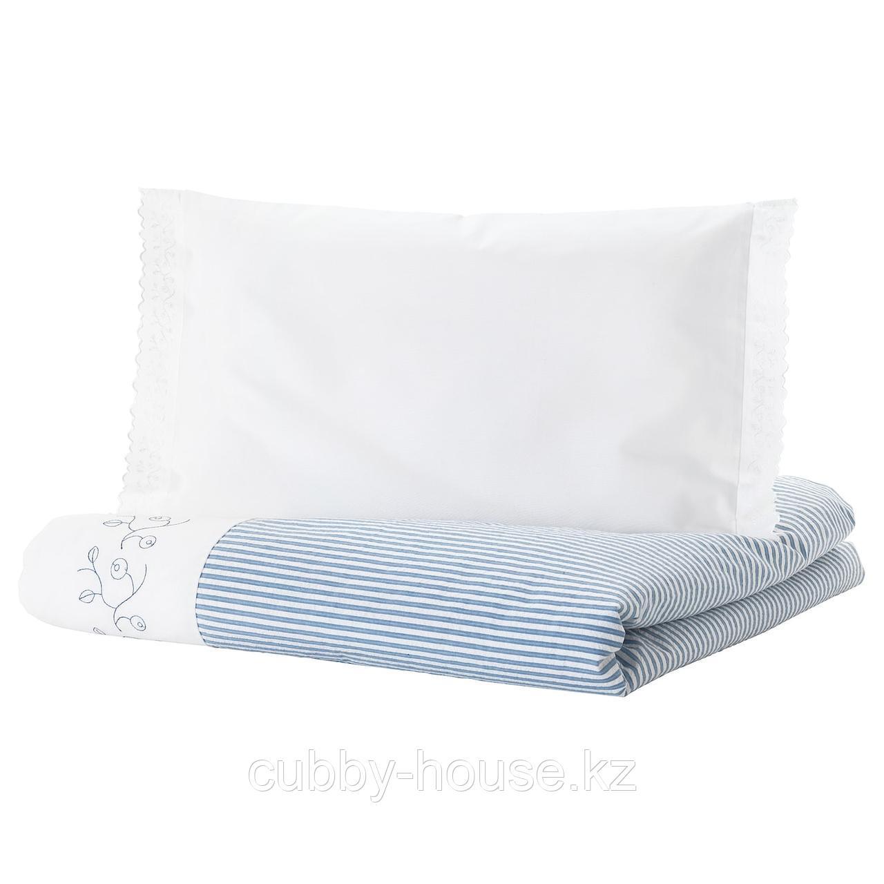 ГУЛСПАРВ Пододеяльник, наволочка д/кроватки, в полоску, синий, 110x125/35x55 см
