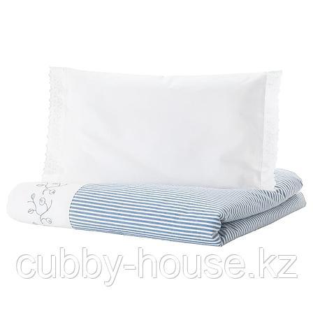 ГУЛСПАРВ Пододеяльник, наволочка д/кроватки, в полоску, синий, 110x125/35x55 см, фото 2