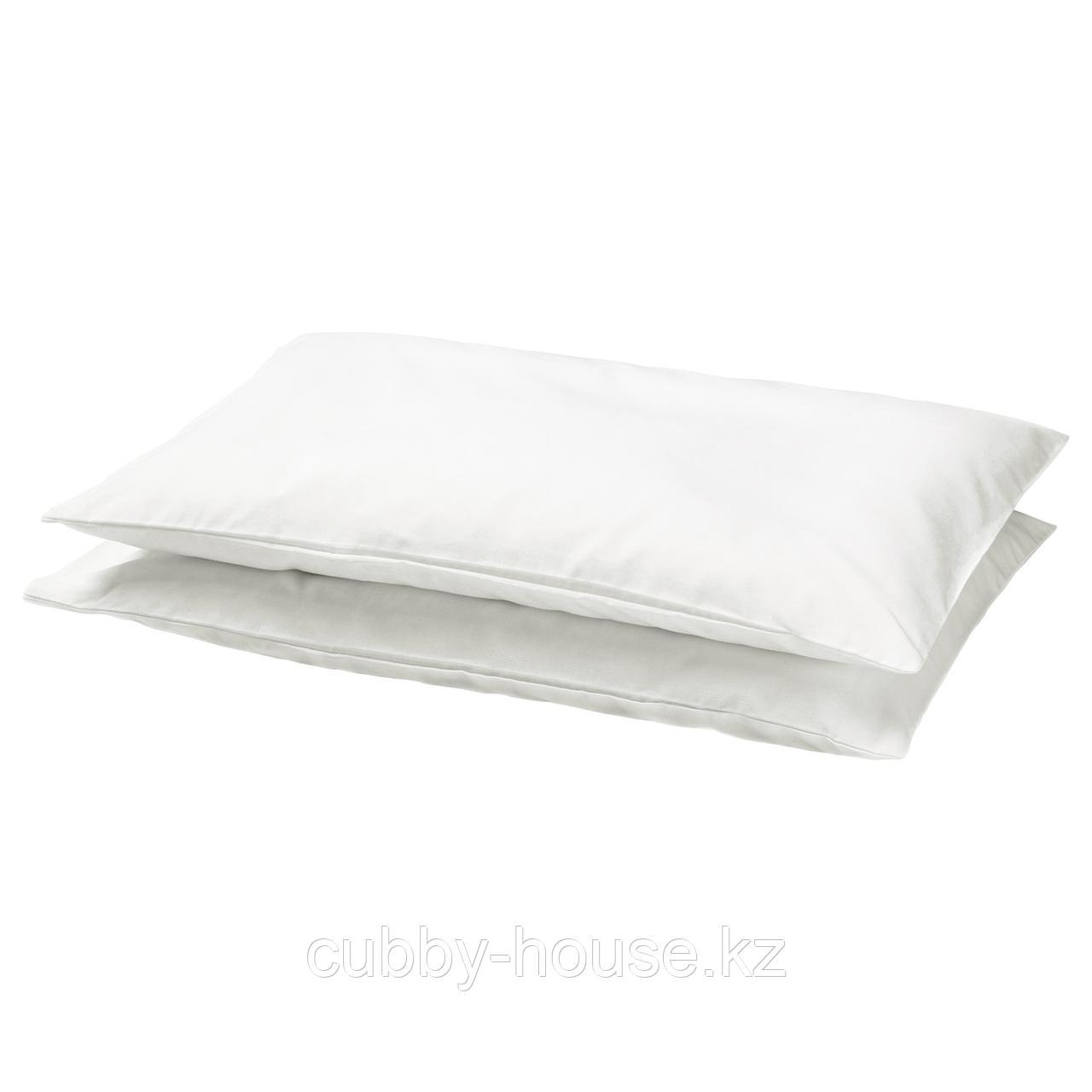 ЛЕН Наволочка в детскую кроватку, белый, 35x55 см