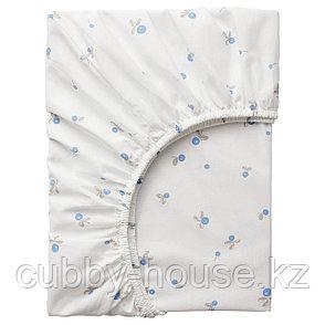 РЁДХАКЕ Простыня натяжн для кроватки, белый, орнамент «черника», 60x120 см, фото 2