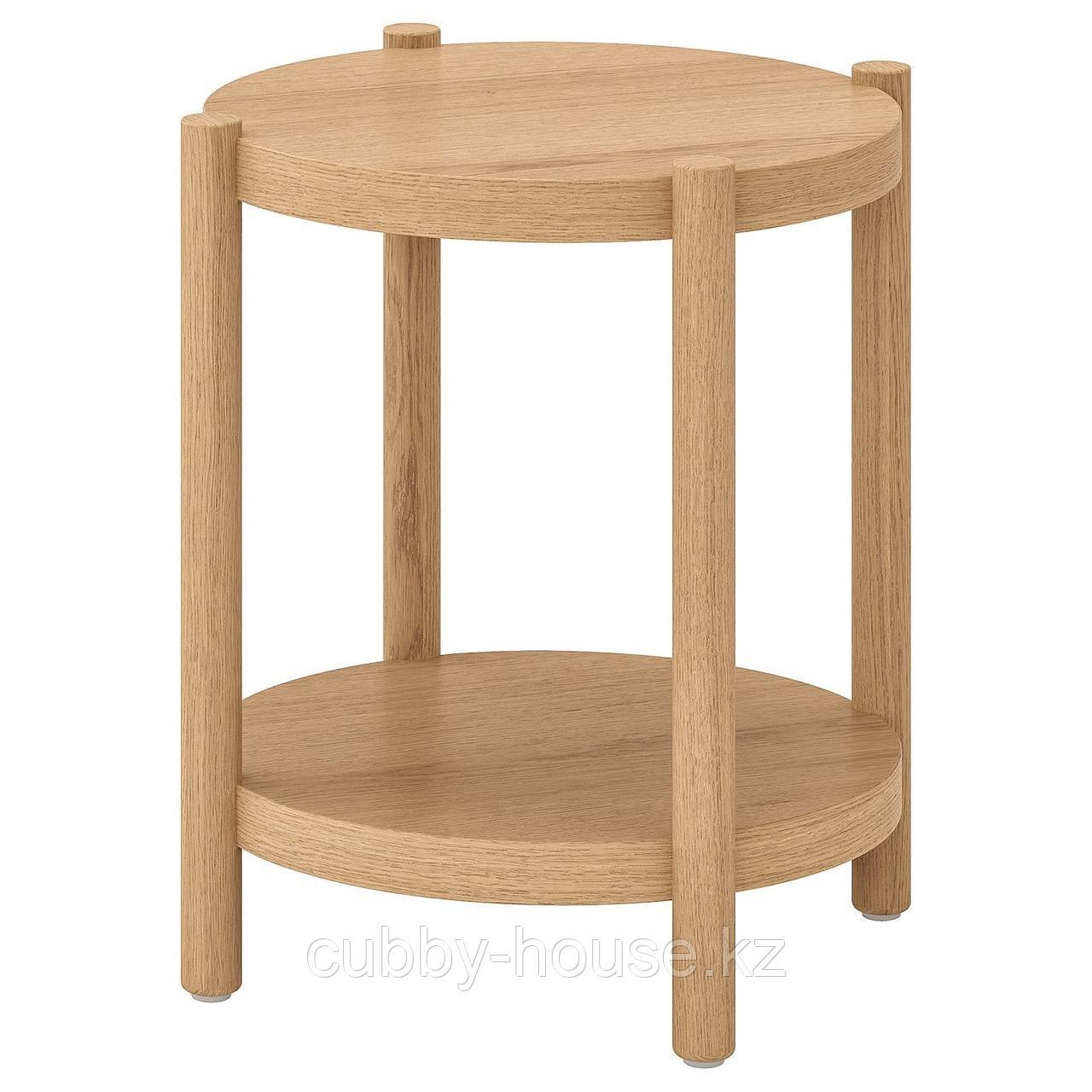 ЛИСТЕРБИ Придиванный столик, белая морилка дуб, 50 см