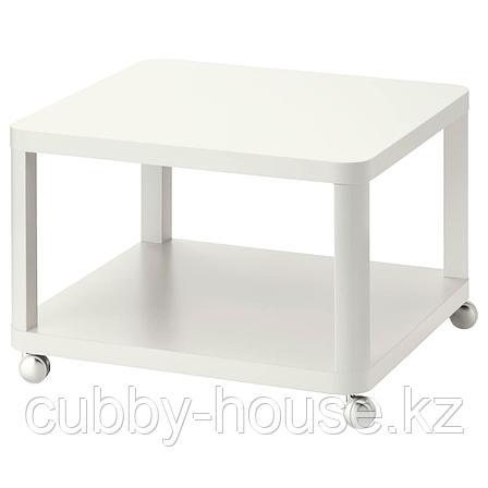 ТИНГБИ Стол приставной на колесиках, белый, 64x64 см, фото 2