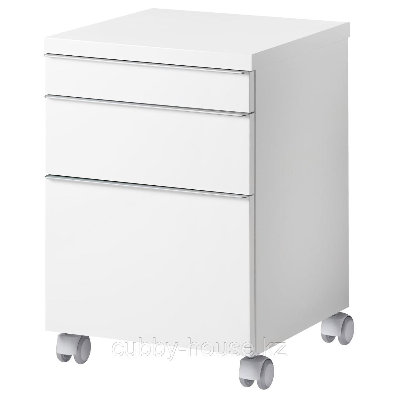 БЕСТО БУРС Тумба с ящиками на колесах, глянцевый белый, 40x40 см