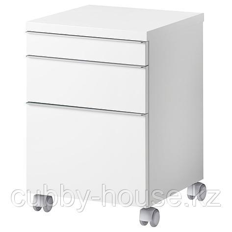 БЕСТО БУРС Тумба с ящиками на колесах, глянцевый белый, 40x40 см, фото 2