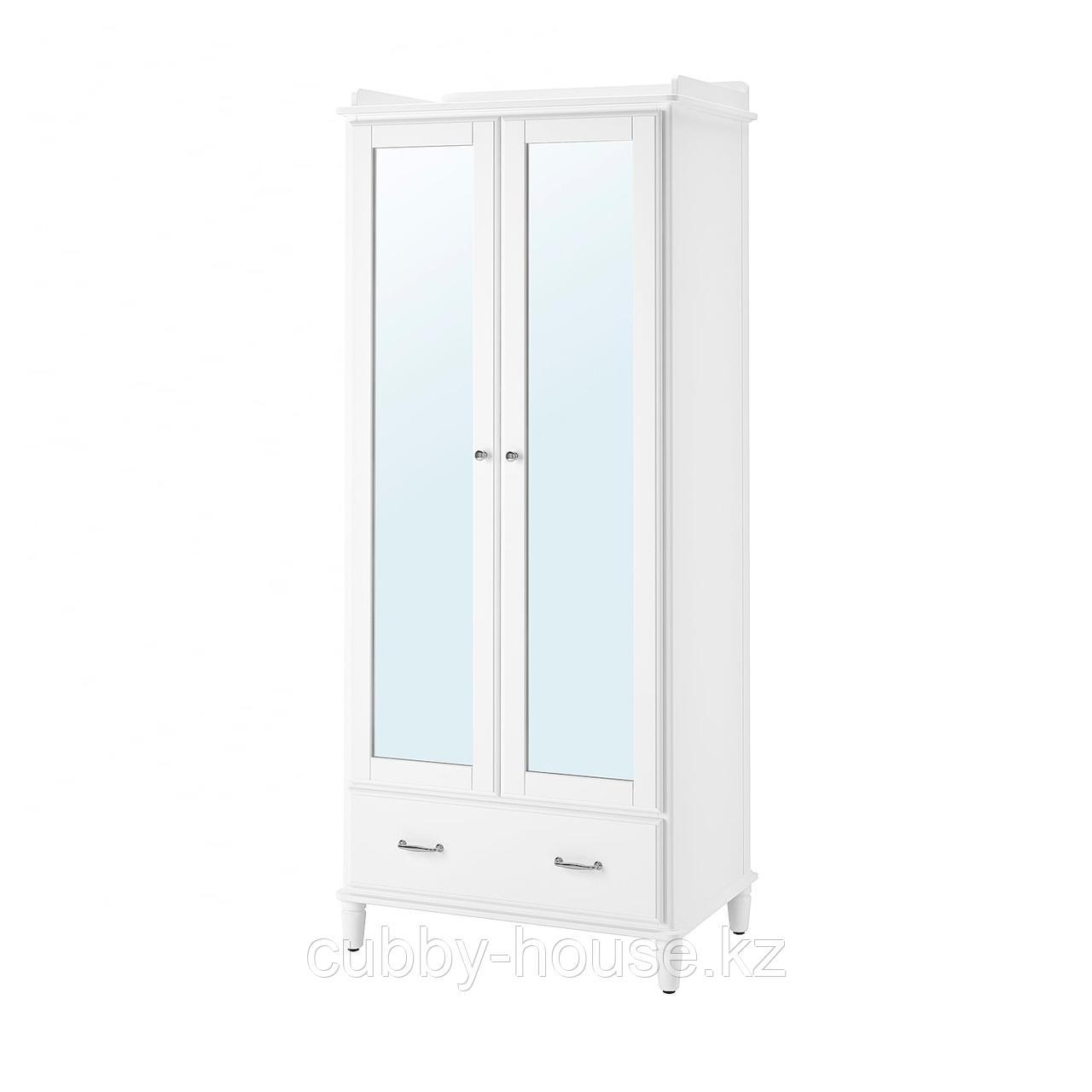 ТИССЕДАЛЬ Шкаф платяной, белый, зеркальное стекло, 88x58x208 см