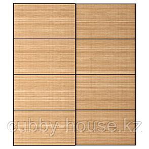 ФЬЕЛЬХАМАР Пара раздвижных дверей, темный бамбук, 200x236 см, фото 2