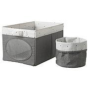 НОЙСЭМ Коробка и корзина, серый, 25x37x22 см