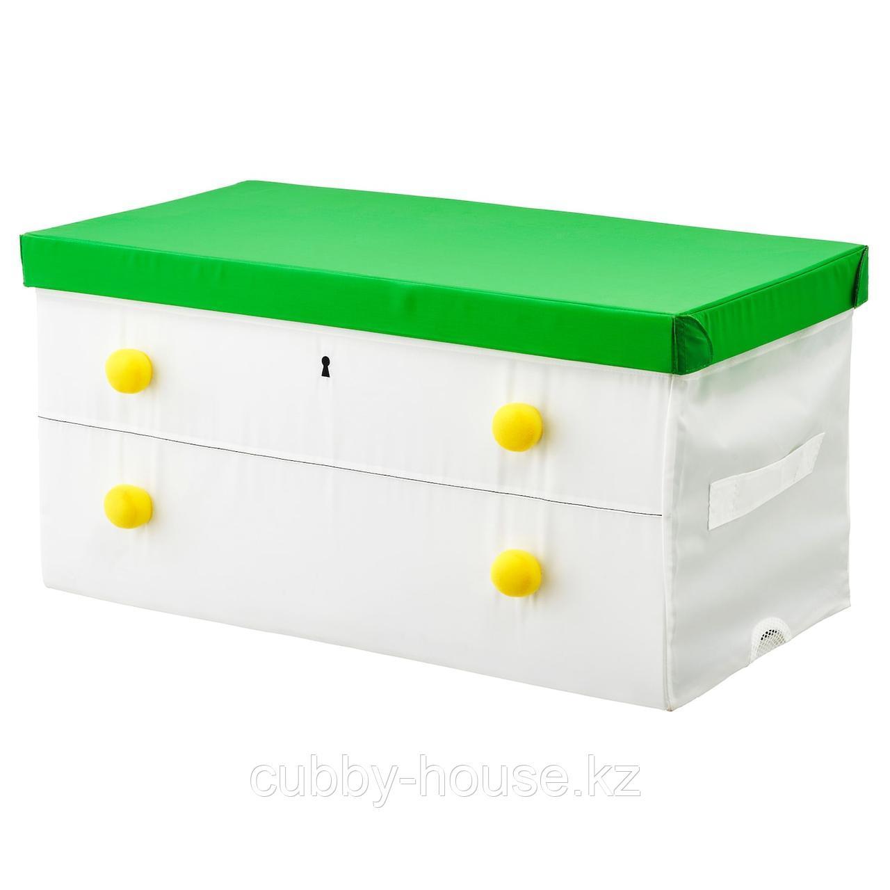 ФЛЮТТБАР Коробка с крышкой, зеленый, белый, 79x42x41 см