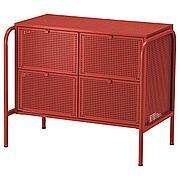 НИККЕБИ Комод с 4 ящиками, красный, 84x70 см